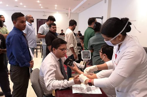 Thumbay Hospital Day Care, University City Road Muweilah-Sharjah Conducts Free Health Camp at Falcon Pack