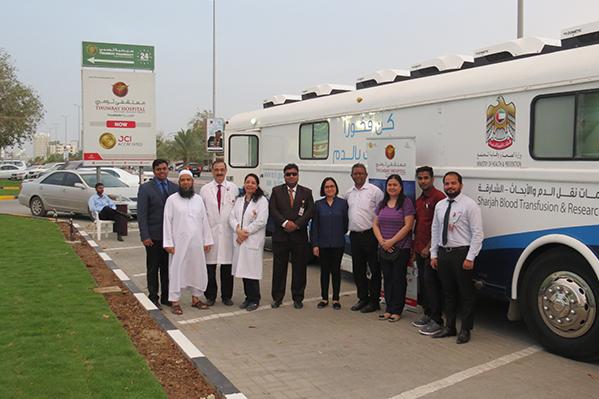 مستشفى ثومبي الفجيرة ينظم معسكر للتبرع بالدم بمناسبة يوم الصحة العالمي